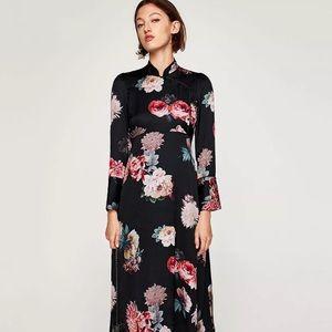 Zara Mandarin Collar Long Sleeve Floral Dress XS S